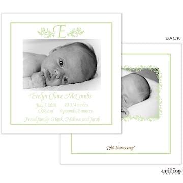 Elegant Green Border Girl Photo Square Birth Announcement