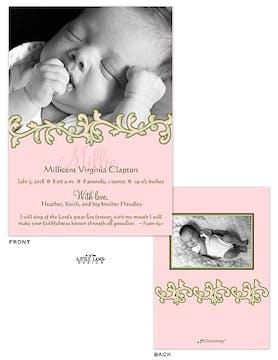 Elegant Vine Girl Photo Birth Announcement