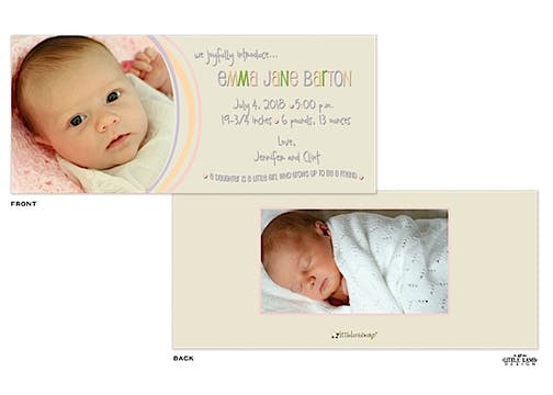 4x9 Girl Photo Birth Announcement