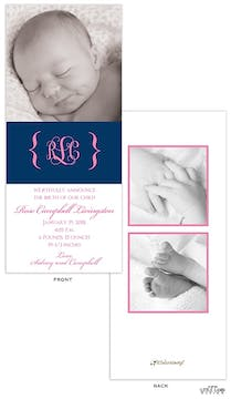 4x9 vertical Girl Photo Birth Announcement