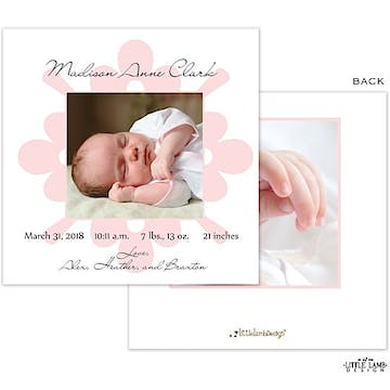 Elegant Pink Frame Girl Photo Square Birth Announcement