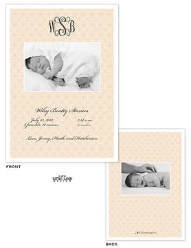 Monogram Girl Photo Birth Announcement