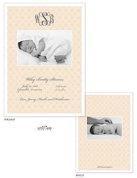 Monogram Girl Photo Birth Announcement