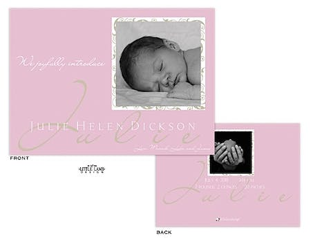 Bright Pink Girl Photo Birth Announcement