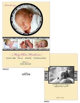 Elegant Girl Photo Birth Announcement