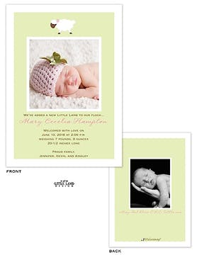 Sweet little lamb Girl Photo Birth Announcement