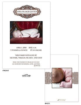 Simply elegant Girl Photo Birth Announcement