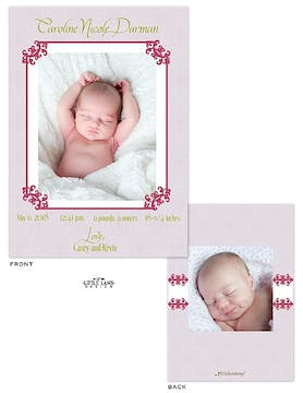 Elegant Frame Girl Photo Birth Announcement