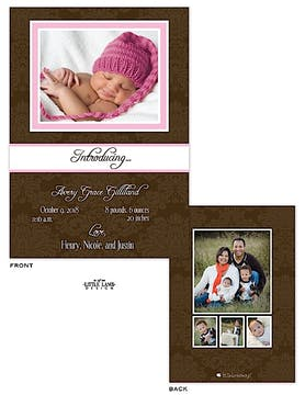 Elegant Brown Damask Girl Photo Birth Announcement
