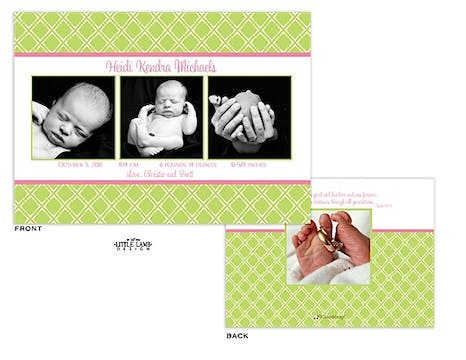 Green and pink Girl Photo Birth Announcement