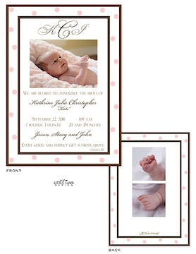 Pink Dot Border Girl Photo Birth Announcement