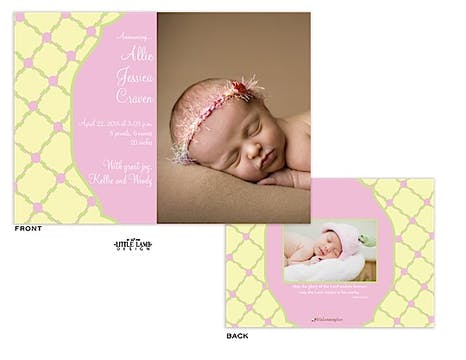 Pink and yellow Girl Photo Birth Announcement