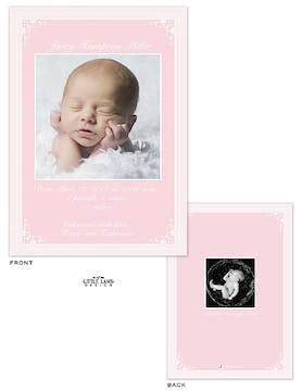 Delicate framed Girl Photo Birth Announcement