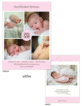Pink Pinwheel Girl Photo Birth Announcement
