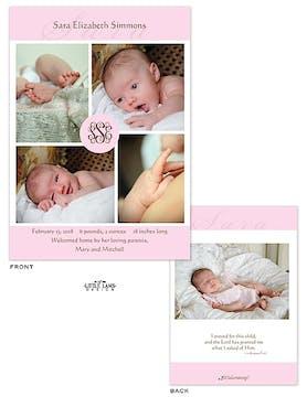 Pink Pinwheel Girl Photo Birth Announcement