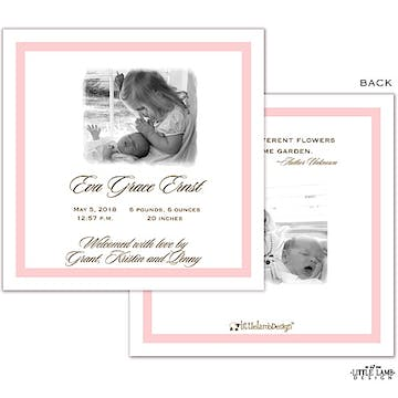 Simply elegant pink Girl Photo Square Birth Announcement