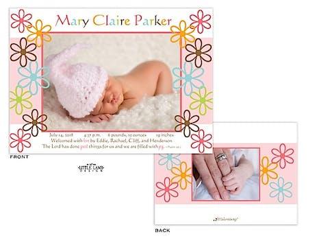 Fun flowers Girl Photo Birth Announcement