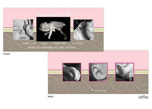 Elegant Pink and Gray Girl Photo Birth Announcement