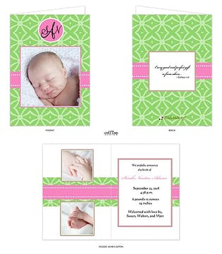 Bold pink and green 5x7 folded Girl Photo Birth Announcement