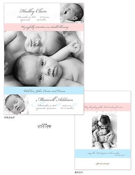 Ribbon Girl Photo Birth Announcement