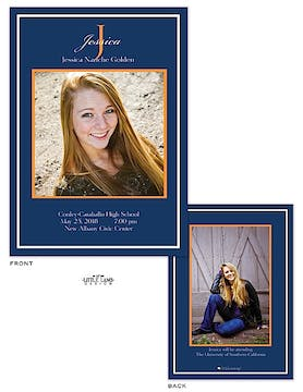 Navy and Orange Graduation Photo Birth Announcement