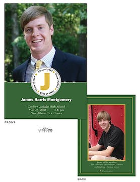 Photo Graduation Announcement with Green Accent