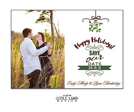 Mistletoe Love Photo Save The Date Magnet