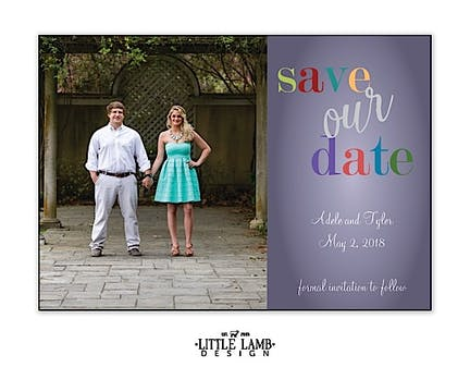 Fun Colors Photo Save The Date Magnet