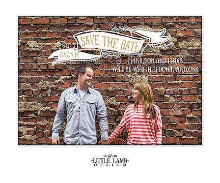 Taupe Photo Save The Date Magnet