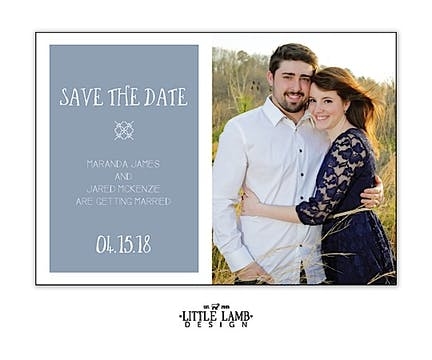 Blue Gray Love Photo Save The Date Magnet