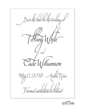 Calligraphy Save-the-Date Card