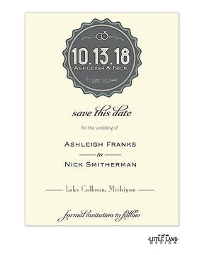 Deco Badge Save The Date Card