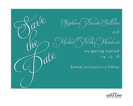 Teal Calligraphic Names Save The Date Card