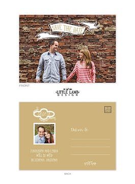 Taupe Photo Save The Date Postcard