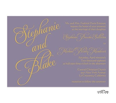 Lavender Calligraphic Names Invitation