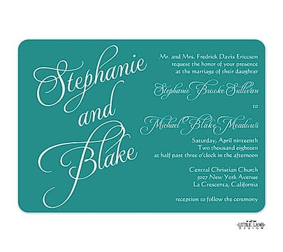 Teal Calligraphic Names Invitation