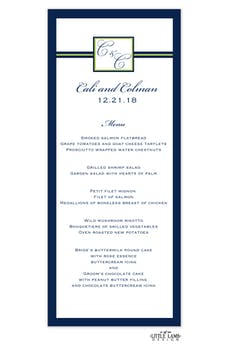 Initial or Monogram Navy Menu Card