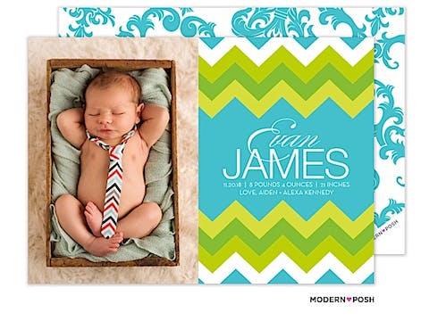 Modern Chevron Baby Blue Photo Birth Announcement