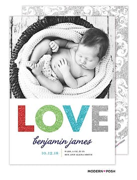 Baby Love Sparkles Blue Photo Birth Announcement