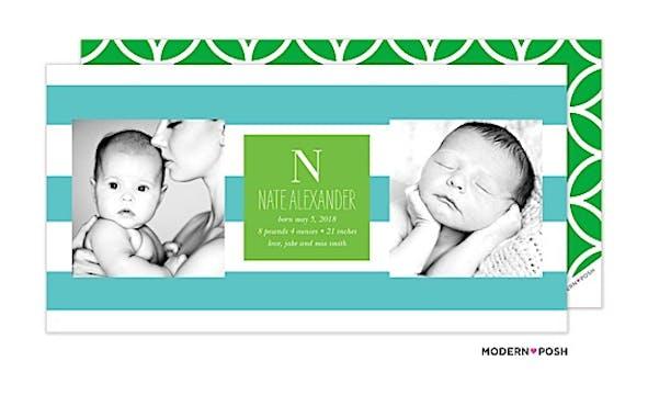Modern Stripe Baby Blue Photo Birth Announcement