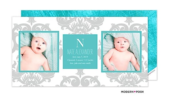 Gorgeous Brocade Baby Blue Photo Birth Announcement