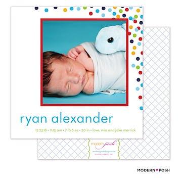 Baby Confetti Boy Photo Square Birth Announcement