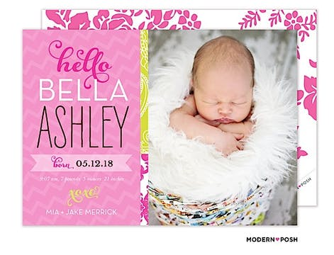 Oh So Cute Baby Pink Photo Birth Announcement