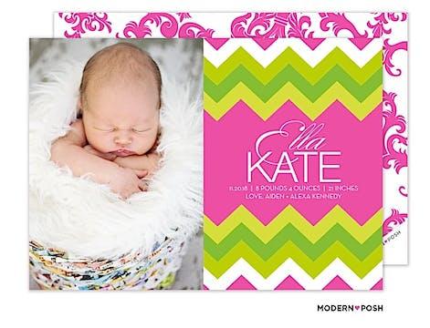 Modern Chevron Baby Pink Photo Birth Announcement