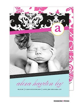 Mod Baby Ribbons Photo Birth Announcement