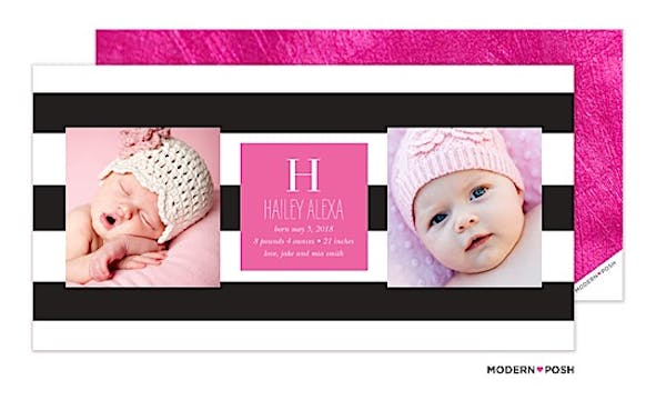 Modern Stripe Black and Pink Photo Birth Announcement