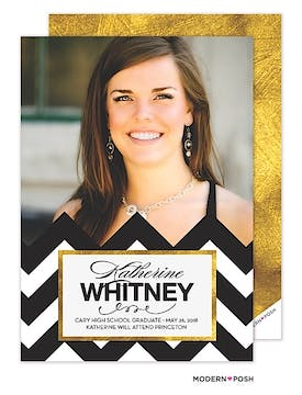 Sophisticated Grad in Gold Photo Graduation Card