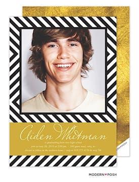 Gold Retro Chevron Photo Graduation Card