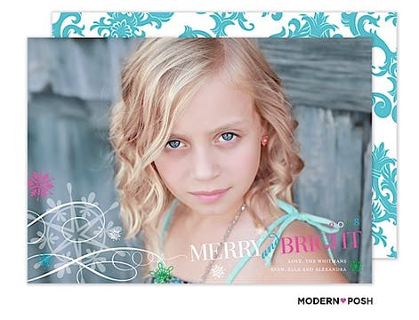 Posh Merry And Bright Holiday  Flat Photo Card