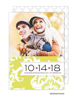 Damask Photo Save The Date Card